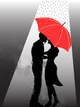 Couple at night red umbrella